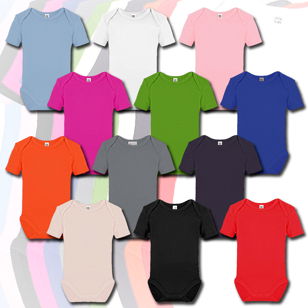 Babybody Kurzarm unbedruckt Top Qualität verschiedene Farben NEU 100/% Baumwolle